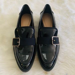 Zara Black Patent Loafer With Gold Buckle NWOT